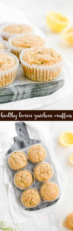 Healthy Lemon Zucchini Muffins -- SO easy to make & only 98 calories! Moist, tender & super flavorful! My family is OBSESSED with these. We never have any leftover! ♡ greek yogurt lemon zucchini muffins. sugar free lemon zucchini muffins. best clean eating lemon muffins. skinny no sugar lemon breakfast muffins.