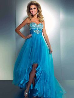 A-line Sweetheart Sleeveless Asymmetrical Tulle Prom Dress #WX735