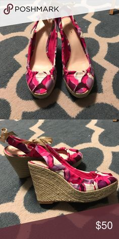 Coach wedges Colorful Coach wedges! Worn once or twice no real markings. Some remnants of sticker on inside. Coach Shoes Wedges