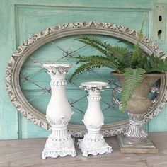 White Distressed Candle Holders Shabby Chic Wedding Table Centerpiece Set of 2