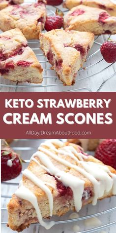 Low Carb Deserts, Low Carb Sweets, Healthy Desserts, Low Carb Bread, Low Carb Keto, Low Carb Recipes, Strawberry Scones, Strawberry Recipes, Keto Cake