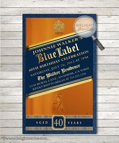 Johnnie Walker Blue Label 40th Birthday Party Invitations