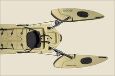 Freedom Hawk Pathfinder kayak with deployable outriggers. Ocean Kayak, Small Fishing Boats, Fishing Equipment, Kayak Fishing, Water Crafts, Canoe, Things To Buy, Paddle, Kayaking