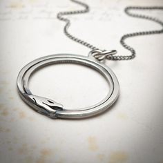 Double Ouroboros Pendant Necklace Sterling Silver