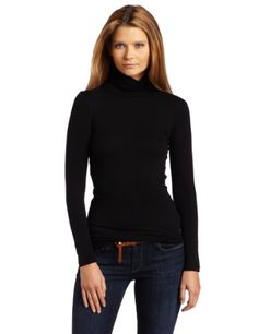 Splendid Womens 1X1 Long Sleeve Turtleneck TopBlackSmall