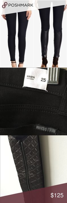 Hudson Krista Super Skinny Jeans quilted leather Brand new with Krista tag on back. Hudson black super skinny jeans with quilted leather in back of calves. Super sexy zip detail. Size 25 Hudson Jeans Jeans Skinny