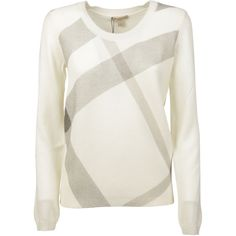 Burberry Checked Sweater found on Polyvore featuring tops, sweaters, natural, checkered sweater, ribbed top, white long sleeve sweater, white long sleeve top and long sleeve tops