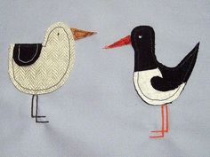 Seagull and Oyster Catcher applique by Phatsheep Textiles
