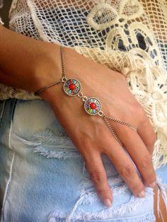 SHOP SALE Boho Finger Bracelet Tribal Disc by JewelryTutusBowsOhMy, $15.00