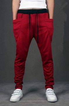 28958e64 SAVE $4 - #Mens Baggy Jogging Harem Pants Casual Sports Dance Training  Trousers Red L $18.99
