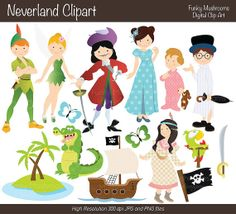 Digital Clipart - Neverland clip art for Scrapbooking, Paper crafts, Cards Making, Invitations, Web Designs commercial use INSTANT DOWNLOAD