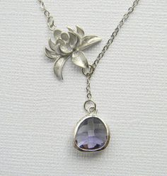 Silver Lariat Necklace  Silver Lotus Flower and by DanaCastle, $26.50