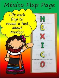"""México- Flap PageThis is fun resource that your students will love! It's a simple introduction to México and will give you plenty of opportunities to begin discussing culture.No pasting require! Print the document double-sided. Fold long ways (""""like a hot-dog bun"""" as I tell my students). Cut the..."""