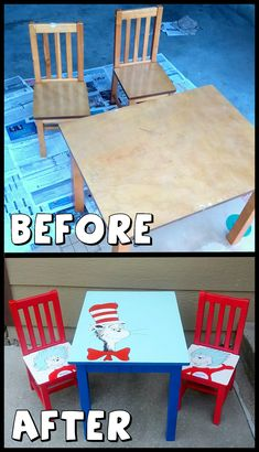 Dr. Seuss kids table with Cat in the Hat, Thing 1, and Thing 2! Hand painted furniture before and after transformation.