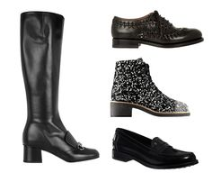 To indulge in footwear, really: There's too many fun options to sit it out in my Stan Smiths forever. Gucci horsebit-detailed leather knee boots, $1,450; net-a-porter.com; Chanel tweed lace-ups with 40mm heel, $1,525; chanel.com; Alaïa cutout leather brogues, $2,850; net-a-porter.com; Tod's leather loafers, $475; tods.com - Photo: (Clockwise from top left) Courtesy of Net-a-porter; Courtesy of ...