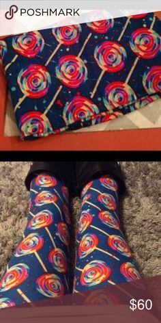 Lularoe OS NWT Blue lollipop leggings Lularoe OS NWT Blue lollipop leggings LuLaRoe Pants Leggings