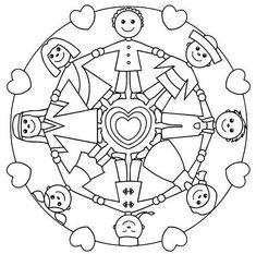 Mandala da colorare per bambini - Bambini in cerchio