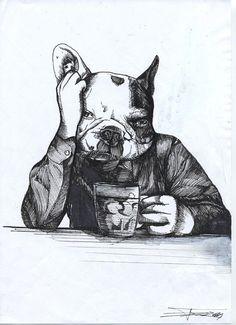 Bar Fly French Bulldog / Original by TheDogPaintersStudio on Etsy