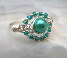 Wire Wrapped Ring with Blue Glass Pearl Bead £12.75