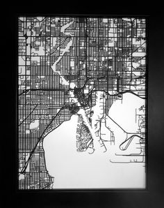 Tampa, Florida laser cut street map modern art on Etsy, $65.00
