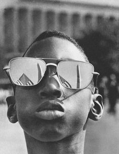 """Young boy attending Martin Luther King Jr's """"I Have a Dream"""" speech, 28th Aug 1963."""