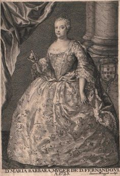 Marie-Barbara de Bragance, infante de Portugal, reine d'Espagne, gravure d'après Amigoni