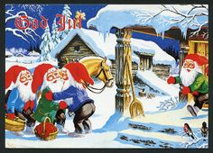 Wimo Scandi Christmas, Christmas Cards, Woolen Clothes, Leprechaun, Goblin, Beautiful Christmas, Vintage Postcards, Faeries, Gnomes