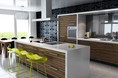 Elegant Contemporary Striped Wood Kitchen Cabinet White Solid Surface Countertop With Ceramic Induction Cooktop Under Convertible Wall Mount Range Hood Green Modern Tall Barstool Mirror Backsplash 20 Amazing Modern Kitchen Cabinet Styles