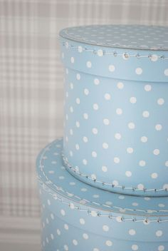 blue and white polka dot hat boxes
