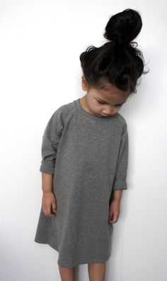 Long Gray Raglan Dress / Long Black Raglan Baby Dress by MiniWayCo