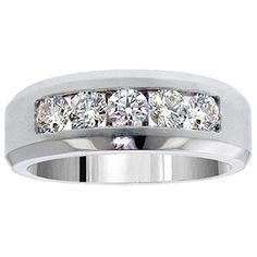 white gold men ct tdw certified black diamond wedding band mens carat princess baguette cut diamond ring wedding band kt - Mens Diamond Wedding Rings White Gold