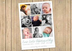 BIRTH ANNOUNCEMENT Collage  Watercolour   Photo Baby by babybaloo