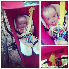 Parenting Hacks | POPSUGAR Moms   (I used pacifire clips to clip toys to my kids, strollers, shopping carts.  Another option was using the baby hook ring toys.  [Open on one side for kids to clip together.] )