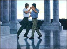 Dance at Dusk. By Steve Walker New Love, Man In Love, Walker Art, Queer Art, Canadian Artists, Gay Art, Gay Couple, Shades Of Blue, Dusk