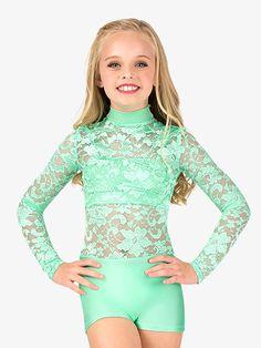 Double Platinum Child Emballe Lace Long Sleeve Shorty Unitard