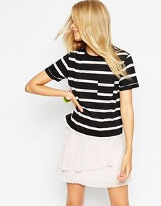 ASOS Cropped Boyfriend T-Shirt in Stripe with Pocket