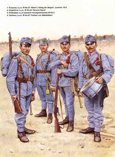 """IMPERO AUSTRO-UNGARICO - 1 Korporal, 27° Infanterieregiment """" Albert I Koenig der Belgien"""" - 2 Zugfuehrer, 50° Infanterieregiment """"General Danki"""" - 3 Feldwebel, 4° Bosnisch-Herzegoviniaches Infanterieregiment - 5 Tambour, 97° Infanterieregiment """"Freiherr Von Waldstaetten"""""""
