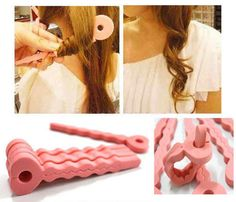 6Pcs Pink Soft Hair Curler Sponge Spiral Curls Roller DIY Salon Tool Fashion NEW