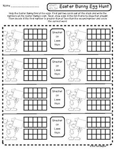 Easter Bunny Comparisons - Numbers 0-20 (Common Core) - FREEBIE This is a product meant for partner play or a math center. Students will pull two cards write the numbers on the Easter bunny, draw the numbers on a ten frame, then compare to see which number is greater or less.