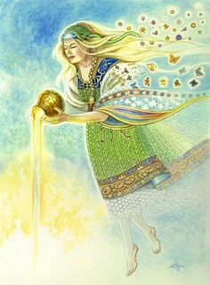 Saules Mate's themes are the sun, prayer and protection. Her symbols are the sun, fire, yellow/gold items, horses and birch.