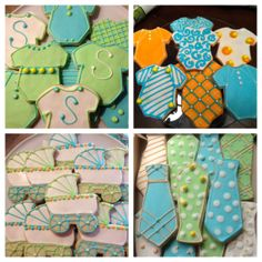 Boys Baby Shower Cookies #ohbaby love the colors