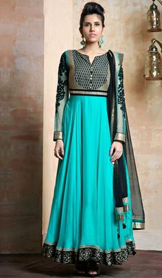 G3fashions Aqua satin silk embroidered designer salwar suit  Product Code: G3-LSA107168 Price: INR RS 9852