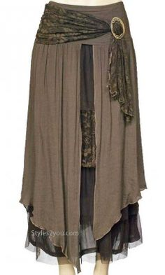 AP Antique Belted Skirt In Coffee