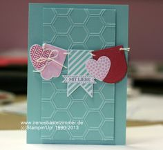 Valentine's day card featuring Stampin' Up! Hearts A Flutter stamp set #StampinUp