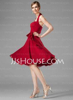 Vestidos de madrinha -Vestidos princesa/ Formato A Frente única Na altura do joelho Chifon Vestido de madrinha com Pregueado