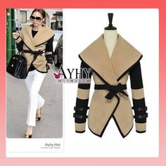 Aliexpress Free Shipping 2013 New Fashion Women's British Style Victoria Personalized Large Lapel Cape Wool Coat Outerwear  PDL109