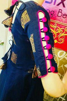 Full Sleeves Design, Kurti Sleeves Design, Kurta Neck Design, Sleeves Designs For Dresses, Traditional Blouse Designs, Fancy Blouse Designs, Bridal Blouse Designs, Blouse Neck Designs, Latest Dress Design