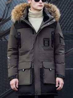 Fvogue New Style Sparking Logo Sewed Pockets Faux Fur Hood Down Coat------$241.99