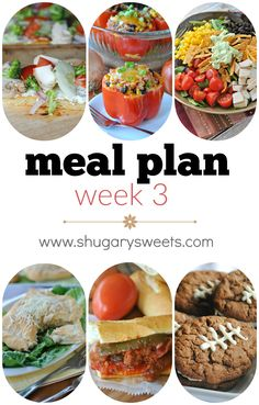 Weekly Meal Plan: Veggie Pizza, Santa fe Stuffed Peppers (HEALTHY), Southwest Chicken Salad, Chicken Caesar Pockets, CROCKPOT Sausage and Peppers and for dessert: Chocolate Oatmeal Cream Pies!