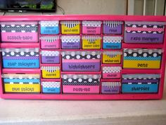 Kindergarten Smiles: Toolbox Makeover! Definitely making this! Found the toolbox at Home Depot (Stack-On 22-Compartment Storage Cabinet) for $17! :)